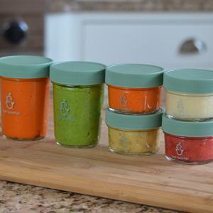 sage spoonfuls make in bulk glass jars set of 2 8oz 4 4oz glass jars baby. Black Bedroom Furniture Sets. Home Design Ideas
