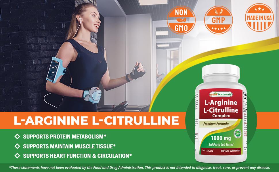 L-Arginine L-Citruline Complex 1000 mg 250 Tablets