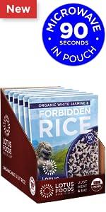 Lotus Foods Organic White Jasmine amp; Forbidden Heat amp; Eat Rice Pouch