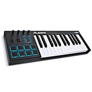 25-Key USB MIDI Keyboard Controller with Backlit Pads, 4 Assignable Knobs and Buttons
