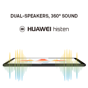 dual stereo speakers with HUAWEI Histen audio technology, delivering concert hall audio effect