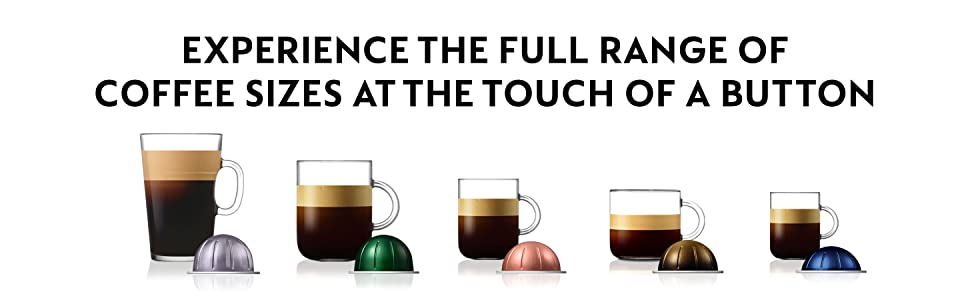 Experience the Full Range of Coffee Sizes at the Touch of a Button