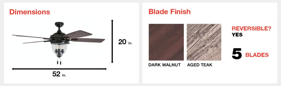 fan dimensions, blade finish, dark walnut, aged teak, 5 blades, reversible, yes, 52 in, 20 in