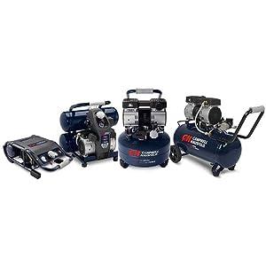 Quiet Air Compressor, 6 Gallon Pancake, Half the Noise, 4X