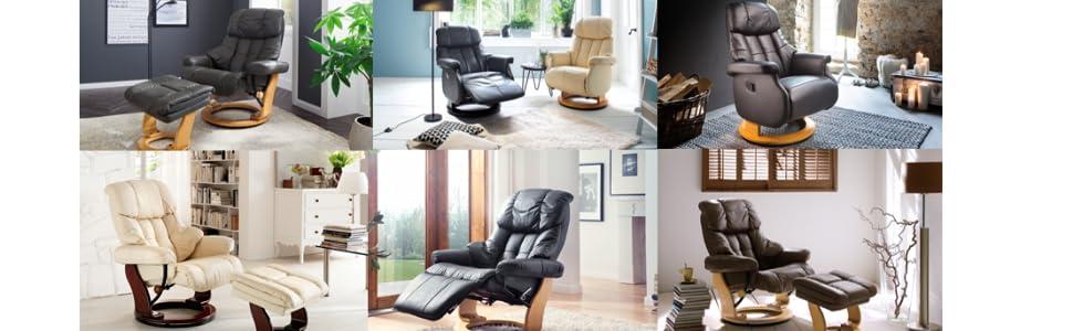 Robas Lund Sessel Relaxsessel Calgary Comfort L Ledercreme 86