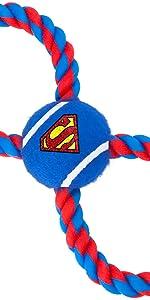 Superman Clark Kent Pet Dog Tug Toy Rope Tennis Ball DC Comics Man of Steele