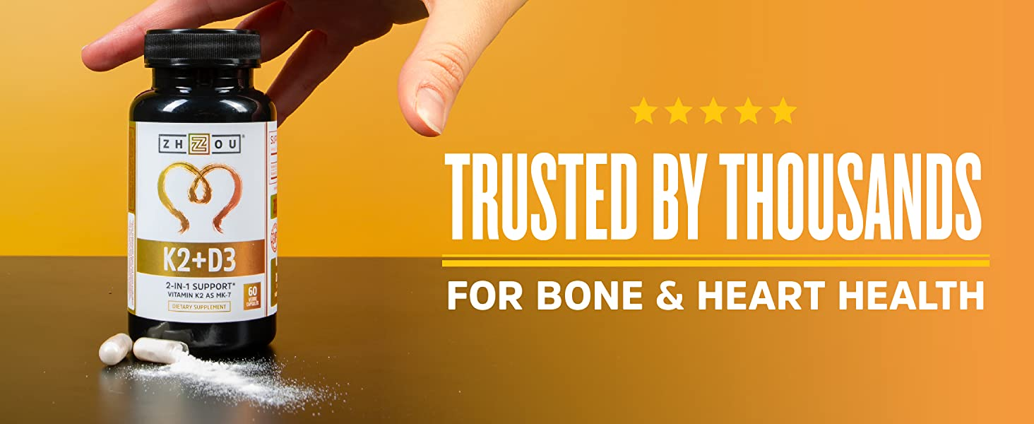 K2+D3 by Zhou Nutrition: Trusted by thousands for Bone and Heart Health