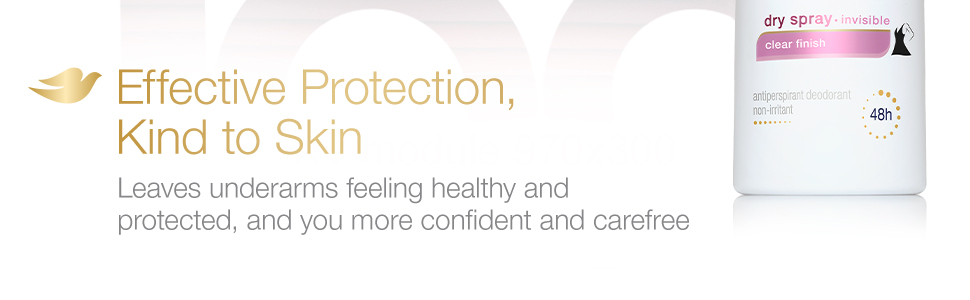 Dove Advanced Care Invisible Antiperspirant effectively protects underarms while being kind to skin