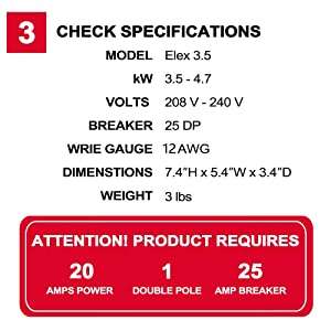 check specifications of thermoflow 3.5kw electirc tankless water heater