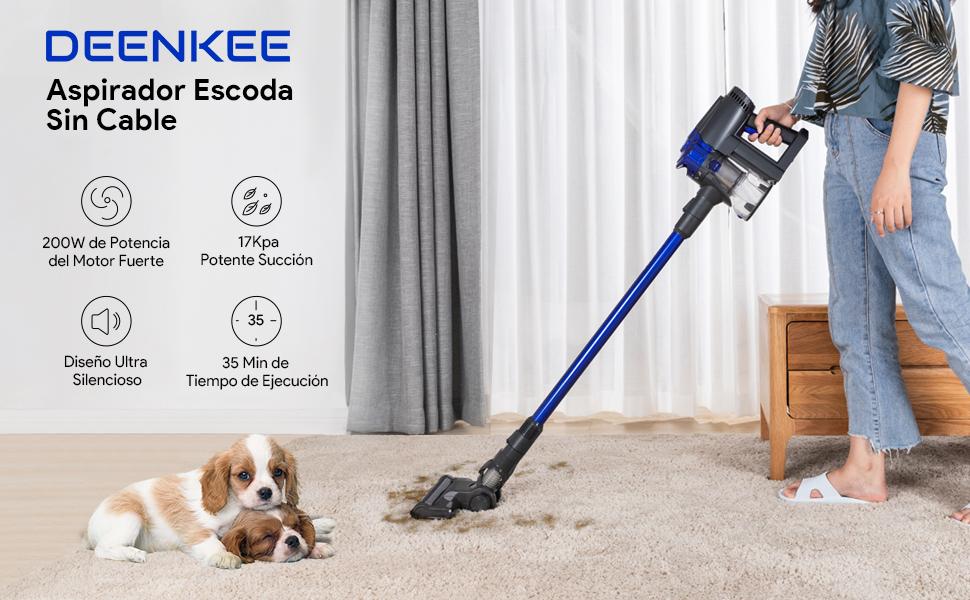 Deenkee Aspirador Escoba, 17000Pa Aspiradora sin Cable Vertical y de Mano, 2 en 1, con 22.2V extraíble batería Ion-Litio, hasta 35 min: Amazon.es: Hogar