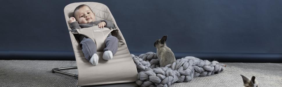 grau 100/% Baumwolle BabyBjörn Babywippe Bliss Anthrazitgrau Cotton