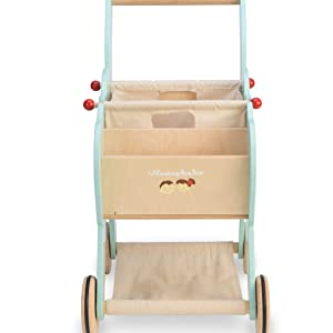 ltv, le, toy, van, shopping, trolley, tv316, shop, play, pretend, role, buy, market, wood, wooden
