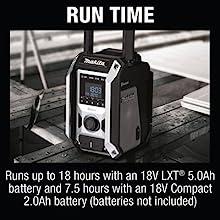 run time runs eigghteen hours 18v lxt 5ah battery 7.5 hours compact 2ah batteries not included