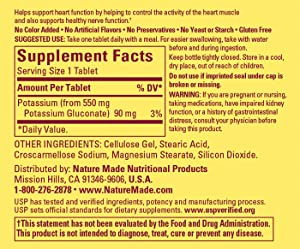 Nature Made Potassium Gluconate 550 mg Supplement Facts