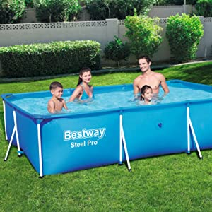 Bestway 56404 - Piscina Desmontable Tubular Infantil Deluxe Splash Frame Pool 300x201x66 cm: Amazon.es: Jardín