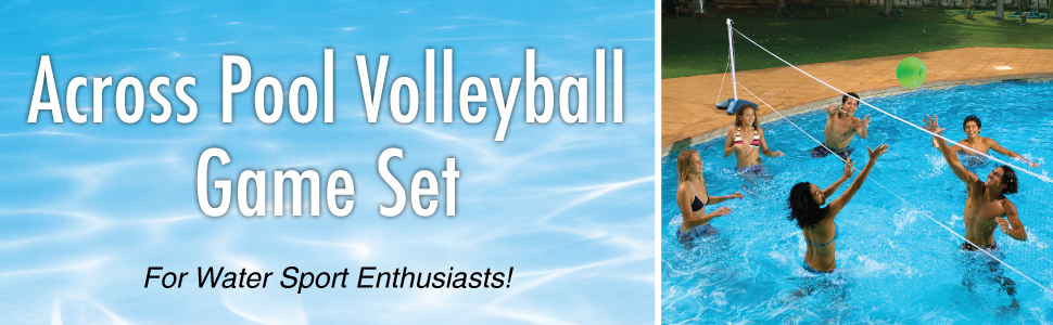 pool volleyball;pool volley ball net;volleyball net swimming pool;badminton pool set;poolside games