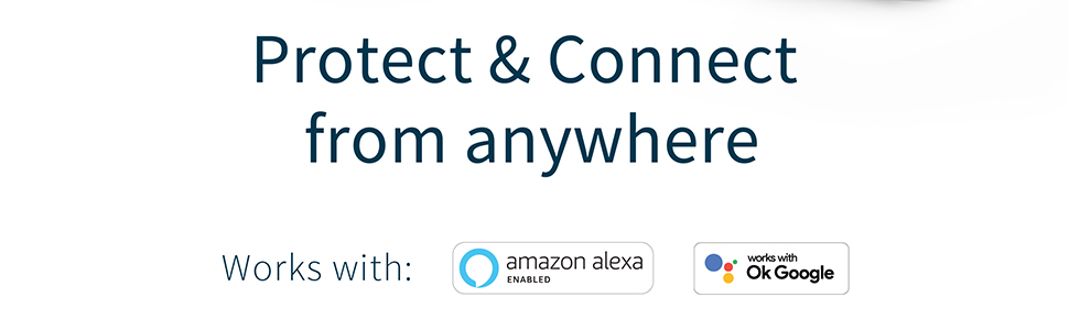 Protect and Connect from anywhere works with amazon alexa Ok Google Smarthome