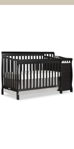 dream on me, cribs, full size, standard, 5 in 1 convertible, toddler bed, day bed, brody, changer
