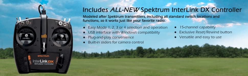 All new Spektrum InterLink DX Controller used with RF9. Modeled after Spektrum transmitters.