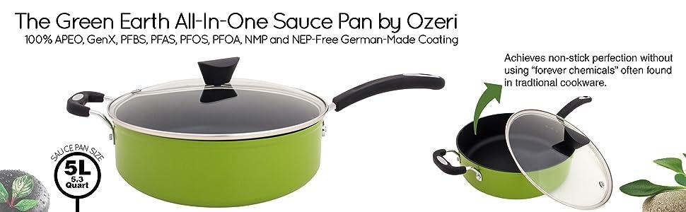 sauce pan and lid; stockpot; pasta pot; saucepan; noodle pot; pan with pour spout; hoyas de cocina