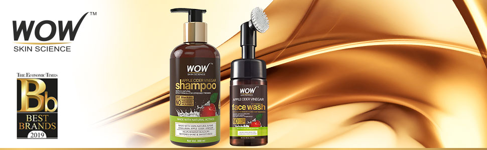 ACV shampoo + WOW ACV Face Wash with Built-In Brush Combo