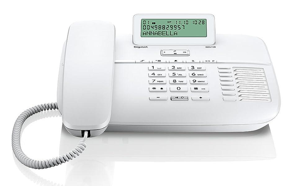 Gigaset DA710 - Teléfono Fijo con Cable Manos Libres, Pantalla de Posición Ajustable, Color Blanco: Gigaset: Amazon.es: Electrónica