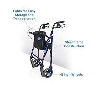 Invacare 66550 Bariatric Rollator Large Padded Flip-up Seat Walker