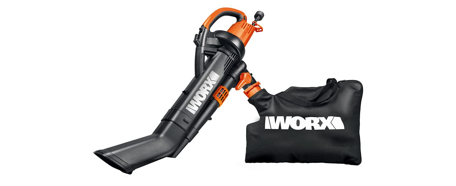 WORX TRIVAC 12 Amp 3-in-One Blower/Mulcher/Vacuum with Metal Impeller, 210 MPH / 350 CFM