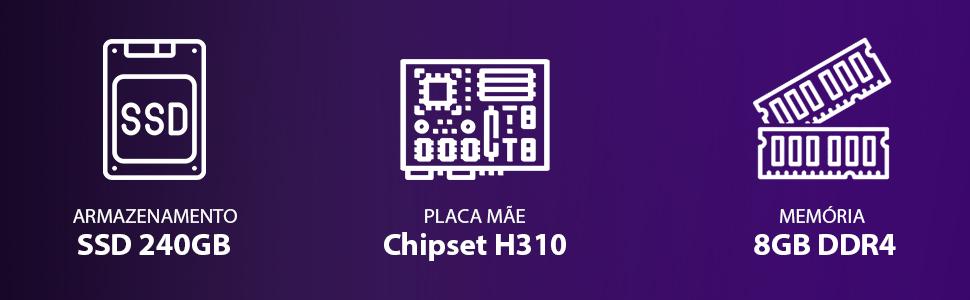 Rodapé-COMPUTADOR GAMER 5000 - I5 9400F 2.9GHZ 9ª GER. MEM 8GB DDR4 SSD 240GB GTX 1660 6GB FONTE600W