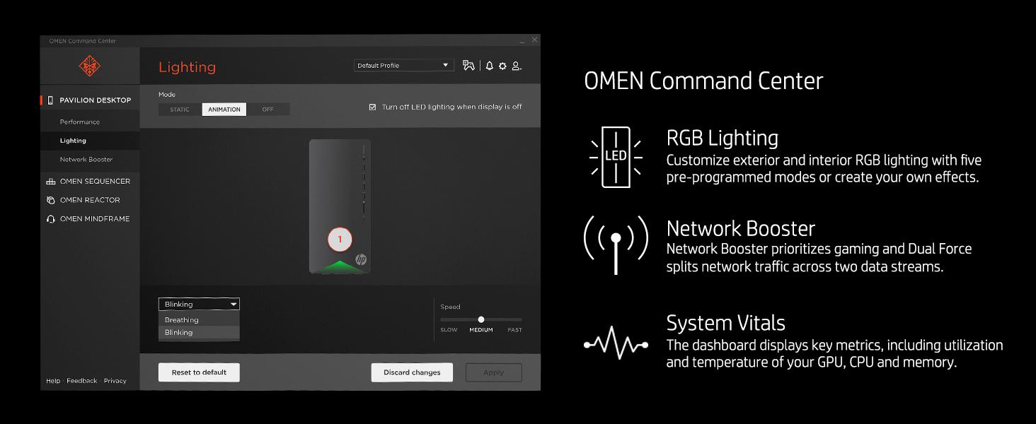 customize Dual Force split two data streams system vitals metrics dashboard temperature GPU CPU OMEN