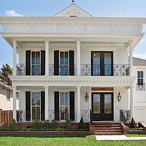 large profile dentil crown moulding on exterior of home