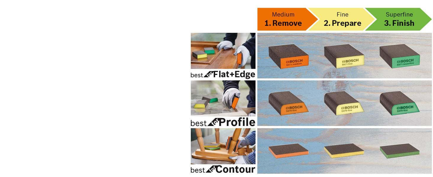 Esponja de lijado, S473, Best for Contour, Bosch, madera, plástico, metal, accesorios, lijado a mano