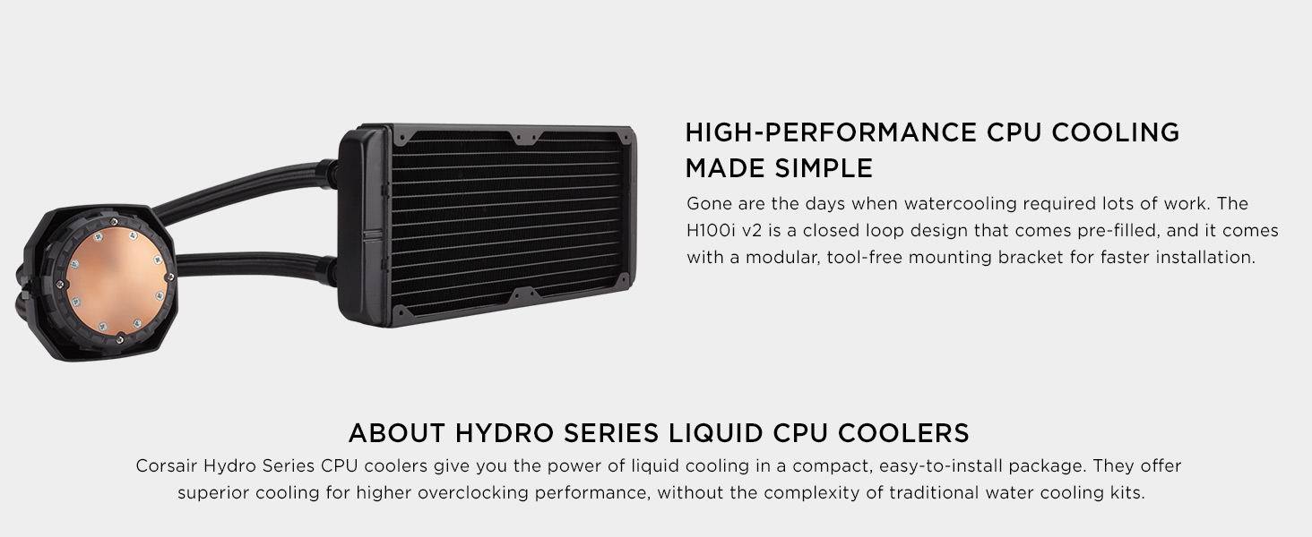 CW-9060025-WW Hydro Series H100i v2 Extreme Performance Liquid CPU Cooler