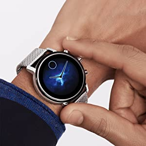 Movado Connect 2.0 Unisex Powered with Wear OS by Google Stainless Steel and Stainless Steel Smartwatch, Color: Silver (Model: 3660035)
