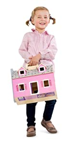 Doll;house;portable;travel;pink