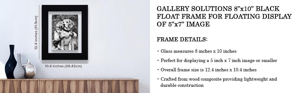 Amazon.com: GALLERY SOLUTIONS 8x10 Black Float Frame For Floating ...