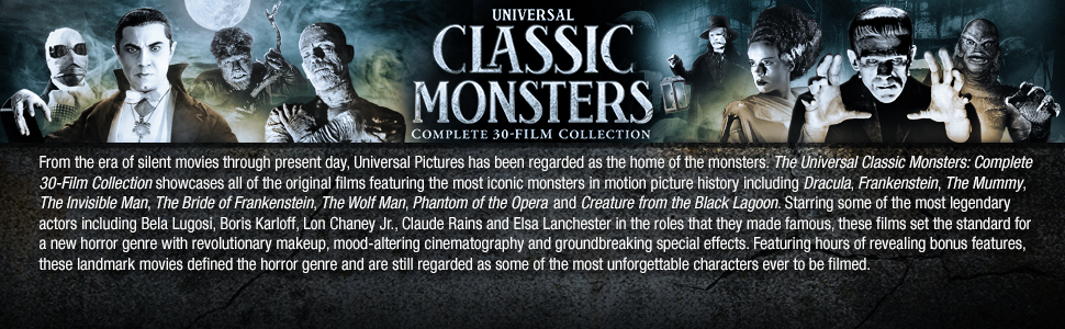 universal classic monsters, collection, box set, monsters, classic, dracula, frankenstein, mummy