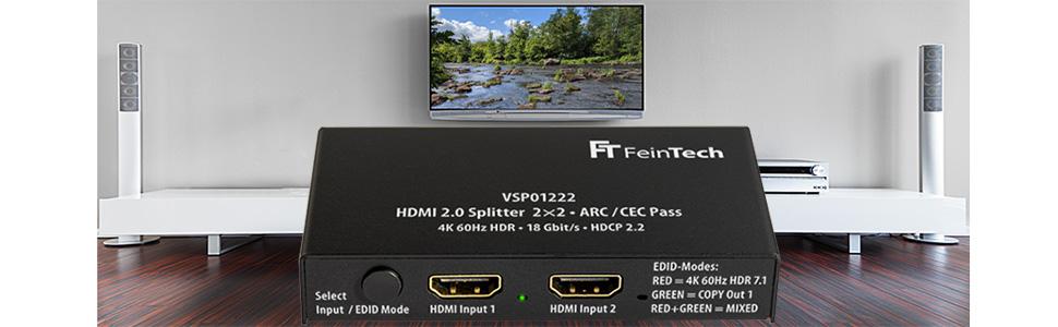 Feintech Vsp01222 Hdmi 2 0 Splitter 2 Eingänge 2 Elektronik