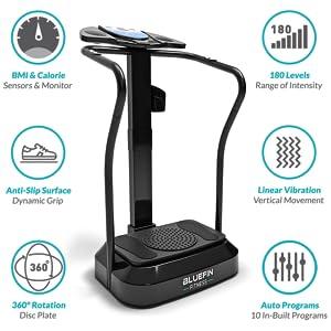 Bluefin Fitness Plataforma Vibratoria | Modelo Pro | Diseño Mejorado con Motores Silenciosos y Altavoces Incorporados