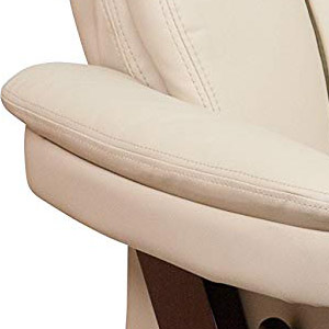 Contemporary Beige Leather Recliner and Ottoman with Swiveling Mahogany Wood