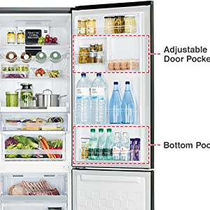 Adjustable Pockets,Hitachi refrigerator,fridge,Best refrigerator,side by side refridgerator