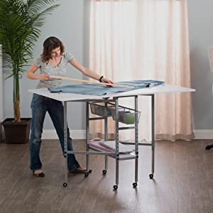 Sew Ready Studio Designs Folding Multipurpose Hobby And Craft Cutting Table With Drawers 13374 Silver White
