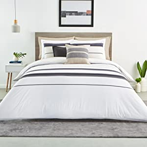 lacoste cotton percale sheet set fitted flat pillowcase pillow soft light lightweight sheets