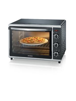 SEVERIN TO 2058 Horno Tostador con convección incluye Piedra para pizza, 1.800 W, 42 L, color plateado y negro