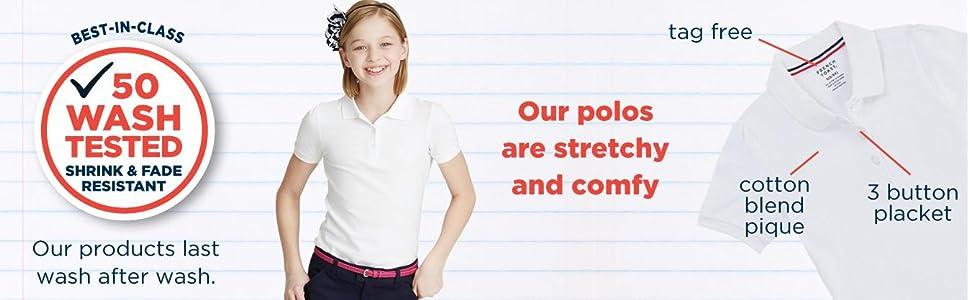 fade resistant, stretch, girls, short sleeve, polo, knit, school, uniform