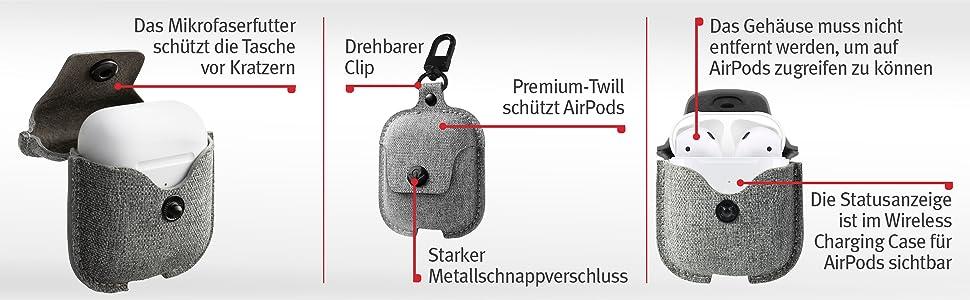 Twelve South Airsnap Twill Schutzhülle Cover Mit Loss Prevention Clip Für Airpods Wireless Charging Case Für Airpods Nebelgrau Elektronik