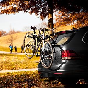 Schwinn 2-Bike Trunk Rack on the go
