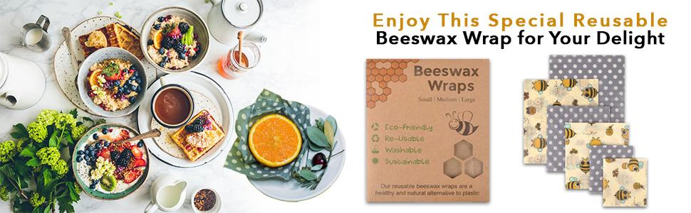 Butterfly ecolly Toallitas de cera de abejas Juego de 3 Premium Beeswax Wraps Papel de cera de abejas S, M, L Sin pl/ástico y reutilizable sin aceite de jojoba