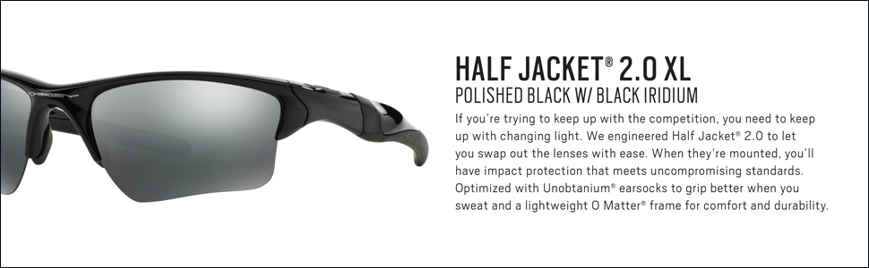 8d227acb08 Oakley Men s Half Jacket 2.0 XL Iridium Sport Sunglasses