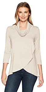 Jersey knit cowl collar wrap front high-low top Cowl neck, cross over front style detail 3/4 sleeve